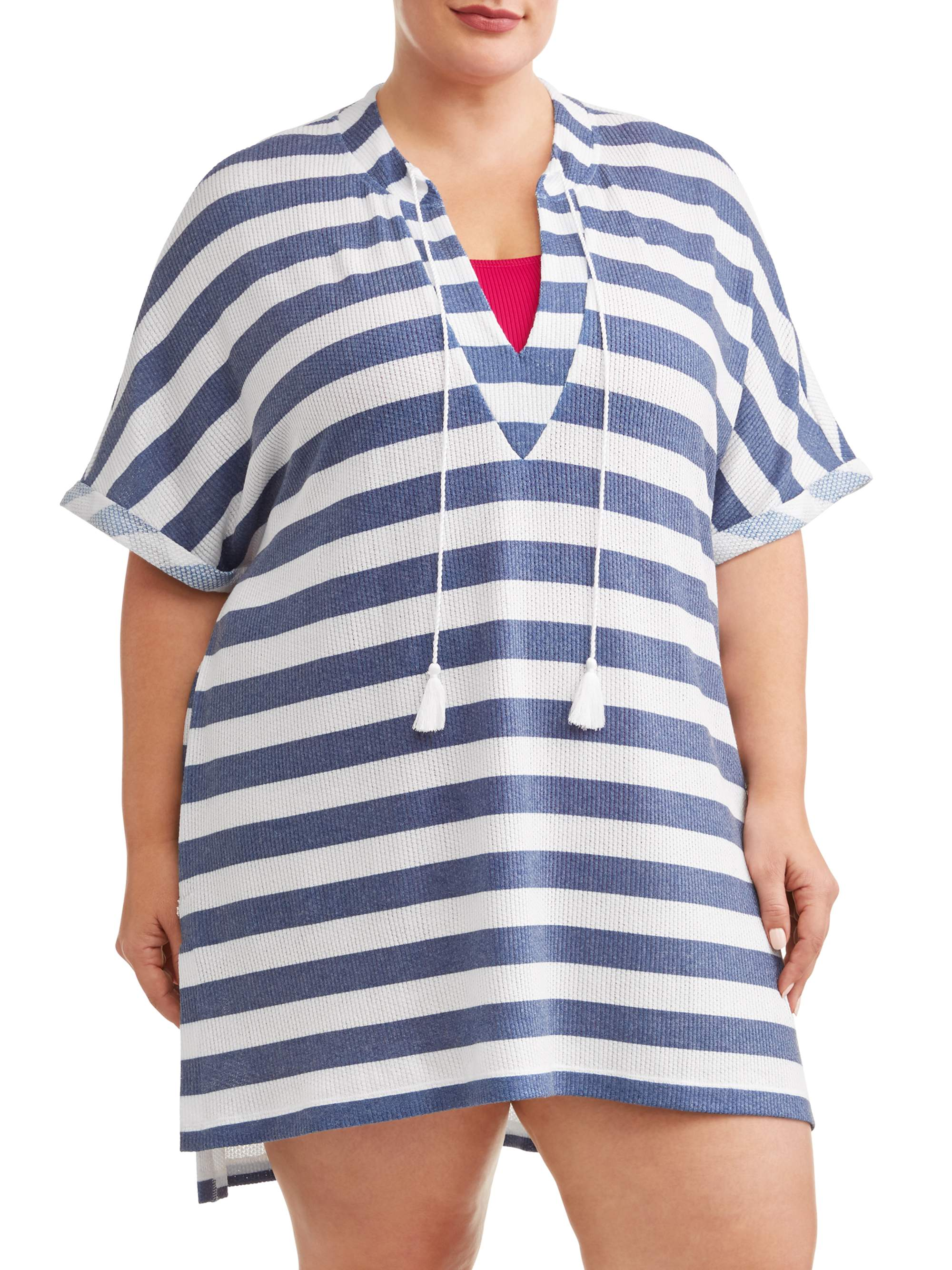 Women's Plus Breton Stripe Knotted Cover-Up