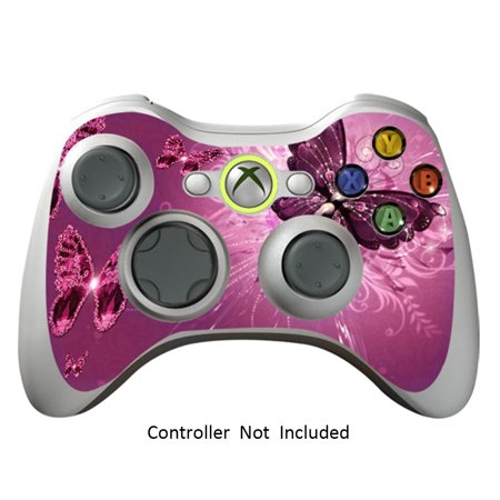 Controller Skin Stickers for Xbox 360 Vinyl X360 Slim Remote Protective Cover Wired Wireless Gamepad Decal - Lavender Butterflies (Xbox 360 Remote Skins)