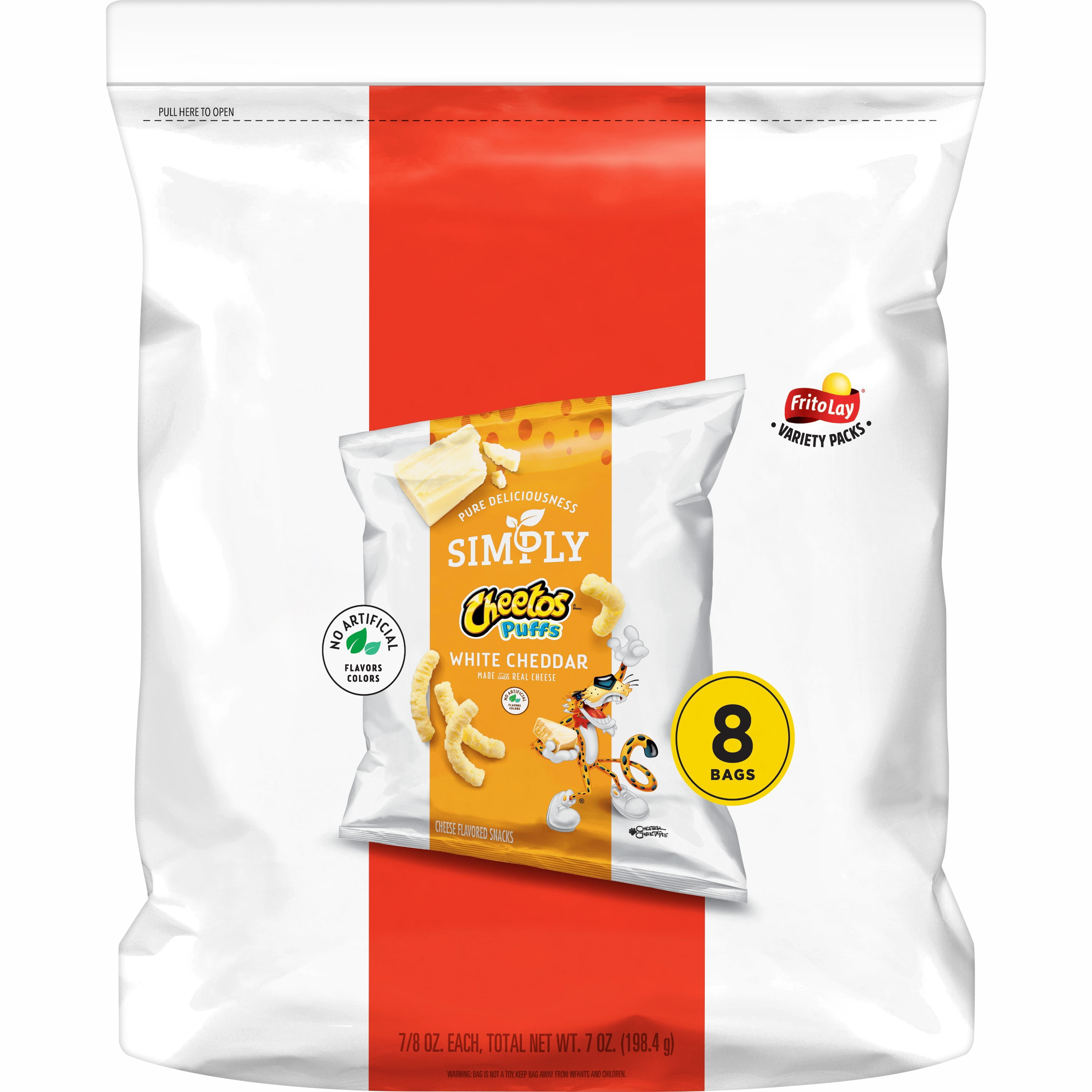 Simply Cheetos Puffs White Cheddar Cheese Flavored Snacks, 0.875 oz Bags, 8 Count