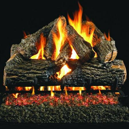 Peterson Real Fyre 24-inch Charred Oak Log Set With Vented Natural Gas G4 Burner - Match Light