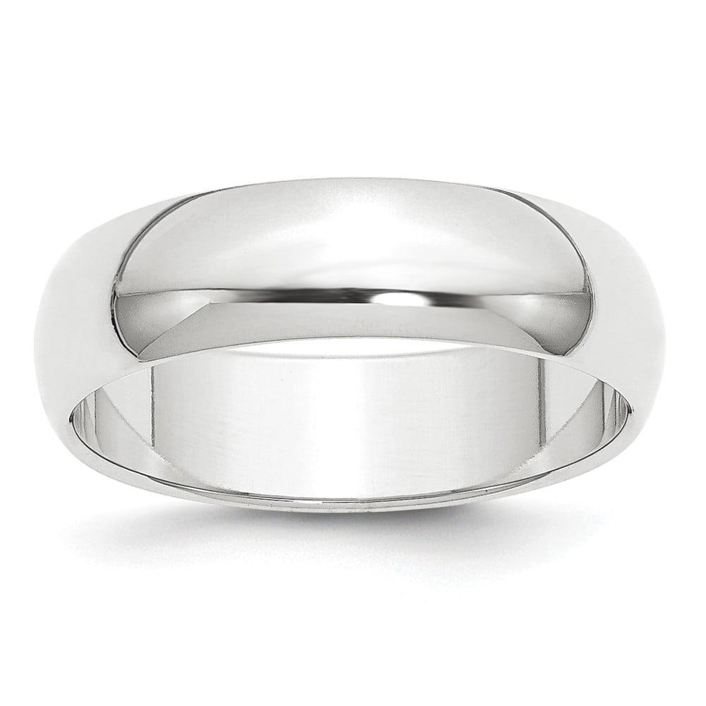 Platinum 6mm Half-Round Wedding Band Ring - Ring Size: 4 to 12