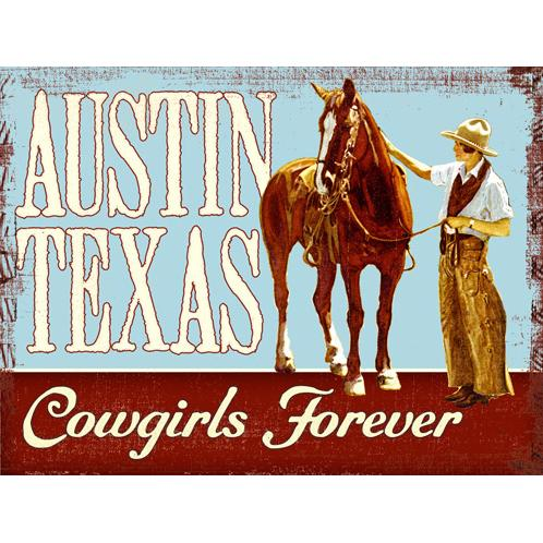 "ArteHouse Decorative Wood Sign ""Austin Texas Cowgirls Forever"", 9"" x 12"", Solid Wood"