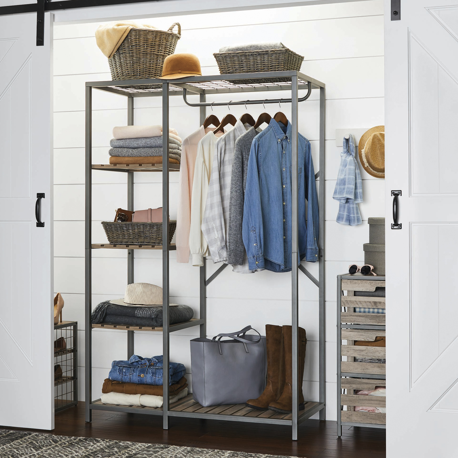 Better Homes & Gardens Decorative Gunmetal Grey Wood and Metal Garment Rack with Slatted Wood tubing