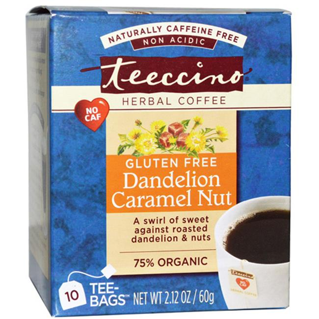 Teeccino Organic Herbal Coffee - Dandelion Caramel Nut, 10 Bags, Case Of 6