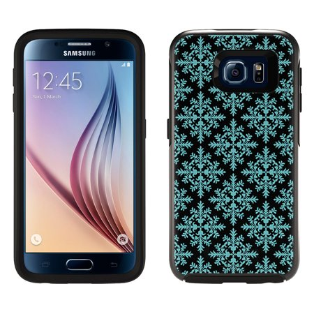 Skin Decal for OtterBox Symmetry Samsung Galaxy S6 Case - Victorian Seamless Teal Blue on Black