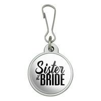 Sister of the Bride Wedding Jacket Handbag Purse Luggage Backpack Zipper Pull Charm