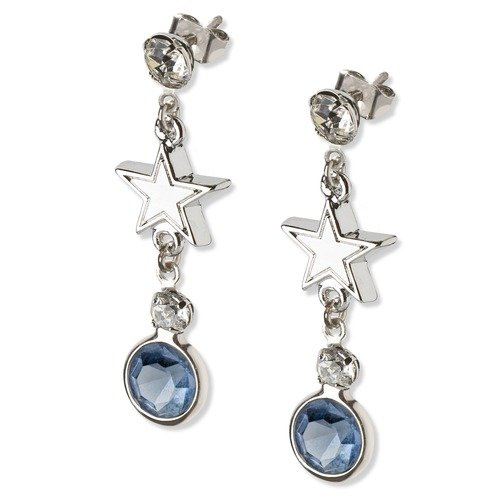 Dallas Cowboys Earrings NFL Team Logo w/ Team Colored Crystals & Rhodium Finished