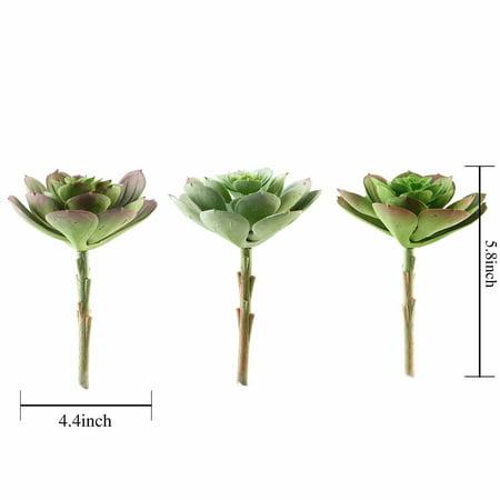 BalsaCircle 3 pcs 6-Inch Assorted Artificial Faux Succulent Picks Echeveria Rosettes Stems Wedding Tabletop Home Decorations