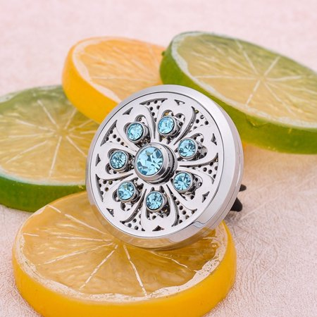 Crystal Diffuser - Car Vent Clips Lily Pad Blue Crystal Aroma Perfume Essential Oil Diffuser Locket