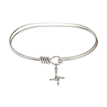 7 Inch Oval Eye Hook Bangle Bracelet W  St  Brigid Cross Charm Sterling Silver Medal