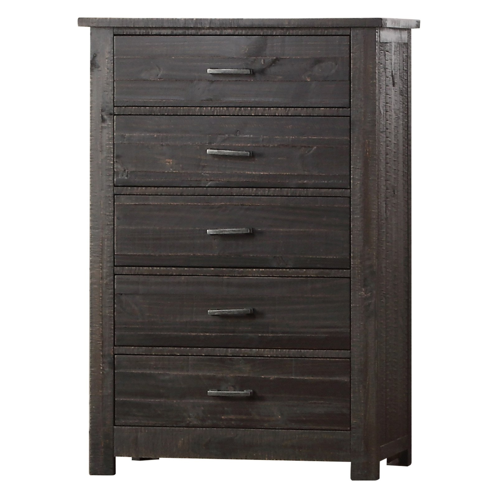 K&B Furniture Rustic Wood No Tool Assembly Bedroom Chest