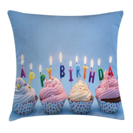 Birthday Decorations Throw Pillow Cushion Cover, Delicious Creamy Cupcakes with Letter Candles Sweet Celebration Theme, Decorative Square Accent Pillow Case, 16 X 16 Inches, Multicolor, by Ambesonne](Sweet 16 Themes Ideas)