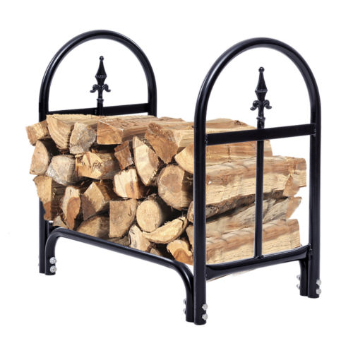 Costway 2 Feet Outdoor Heavy Duty Steel Firewood Log Rack Wood Storage Holder Black