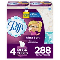 Puffs Ultra Soft Non-lotion Facial Tissues, 4 Mega Cube Boxes, 72 Tissues per Box