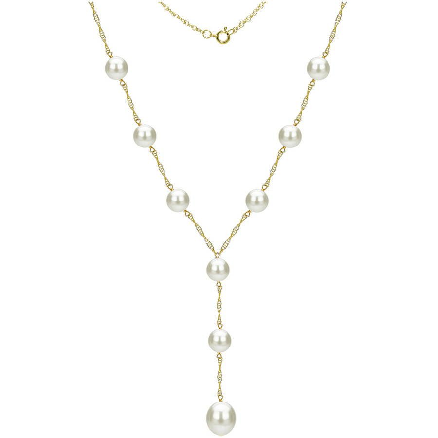 """14kt Gold 8-9mm Freshwater Pearl Stations Lariat Necklace, 18"""" + 2"""" Drop by Generic"""