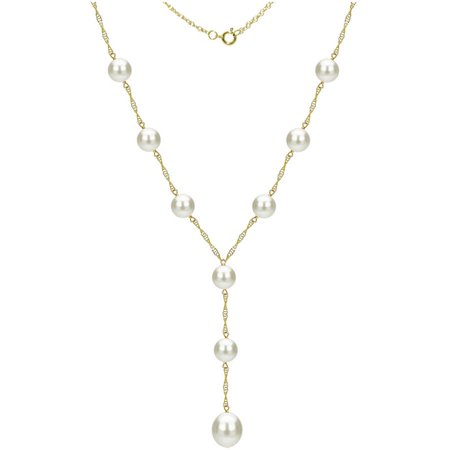 """Image of 14kt Gold 8-9mm Freshwater Pearl Stations Lariat Necklace, 18"""" + 2"""" Drop"""