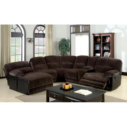 Furniture of America Cyclopean Dark Brown Microfiber Sectional with Reclining Chaise by Overstock