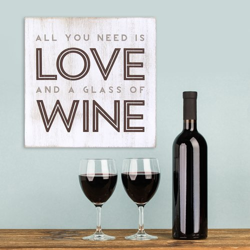 Stratton Home Decor Love Wine Textual Art