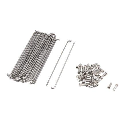 - 36 Pcs Silver Tone Steel 3.2mm Dia Motorbike Wheel Spokes w Nipples 160mm Length