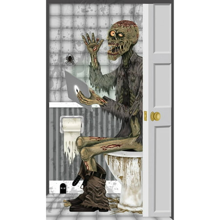 Zombie Toilet Door Cover Halloween Decoration - Creative Halloween Door Decorating Ideas