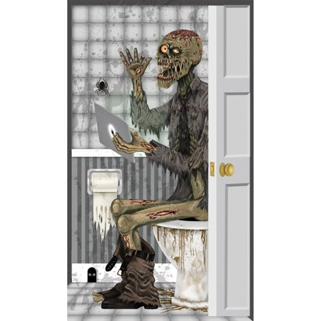 Zombie Toilet Door Cover Halloween Decoration - Halloween Door Contest Ideas