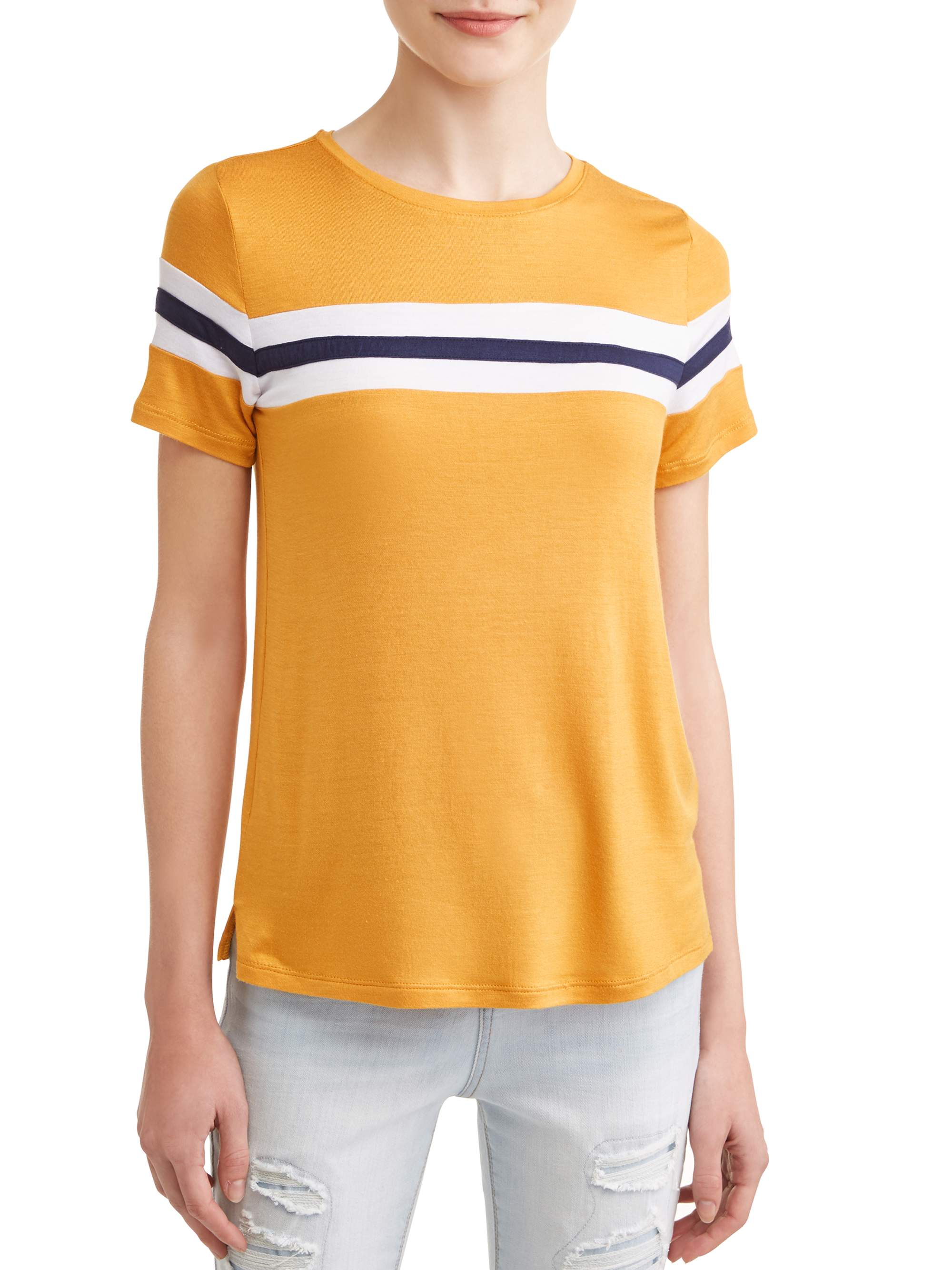 Juniors' Colorblock Stripe Short Sleeve T-Shirt