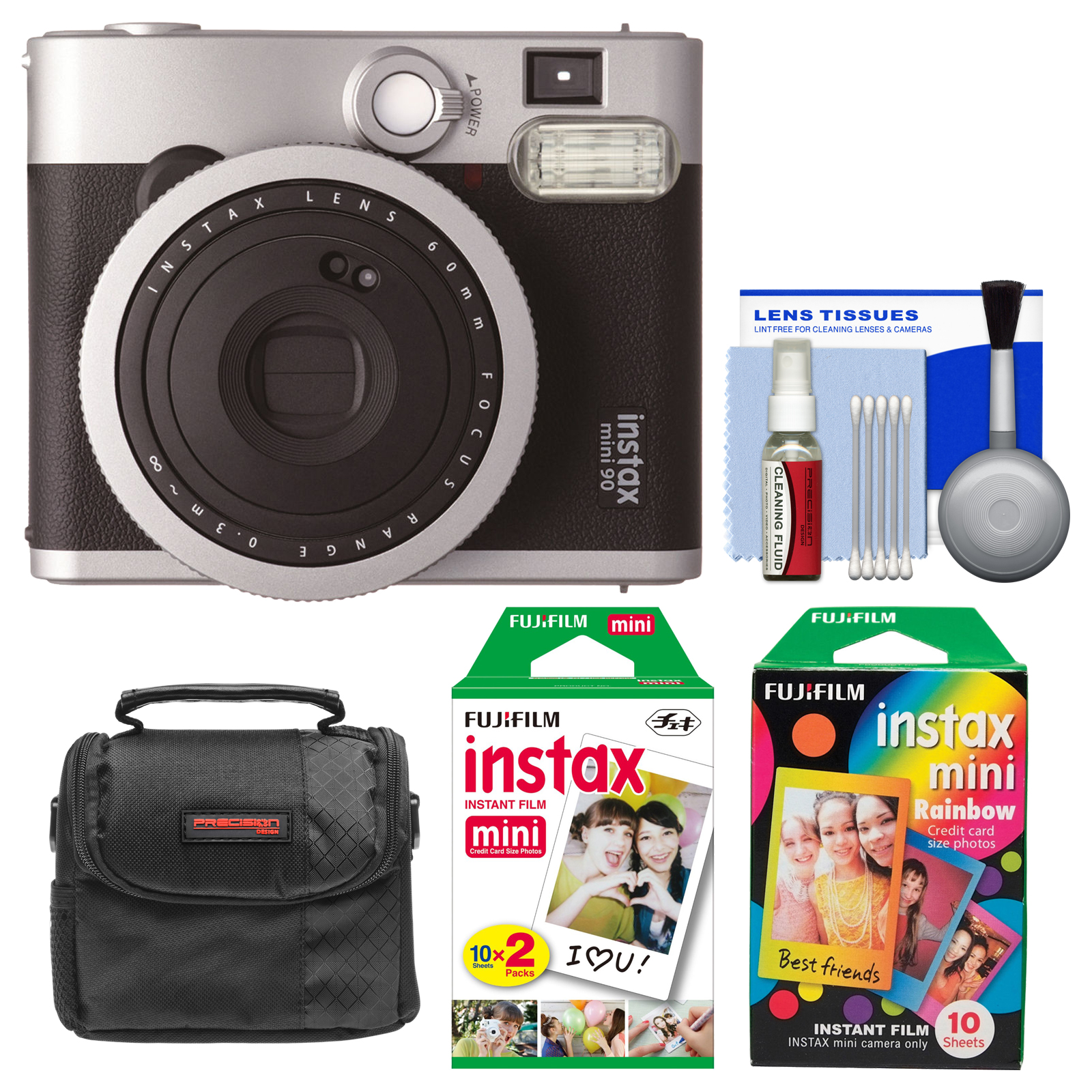 FujiFilm Instax Mini 90 Neo Classic Instant Film Camera with Instant & Rainbow Film Packs + Case + Kit by Fujifilm