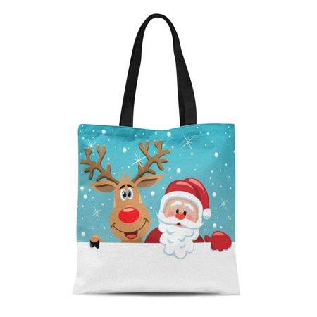 NUDECOR Canvas Tote Bag Brown Santa Cartoon Funny Claus and Red Nosed Reindeer Durable Reusable Shopping Shoulder Grocery Bag - image 1 of 1