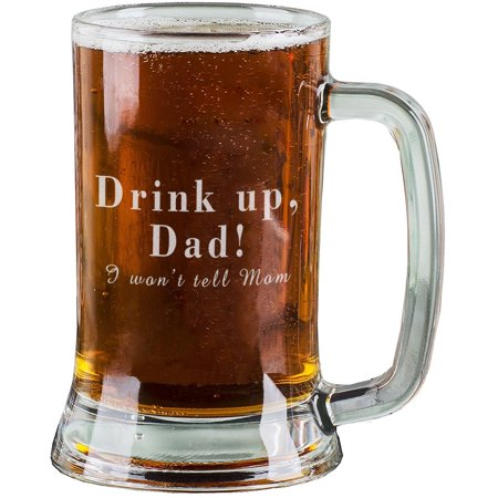 16 Oz Personalised Pint Beer Glasses Etched Mug Engraved with Drink up, Dad! I won