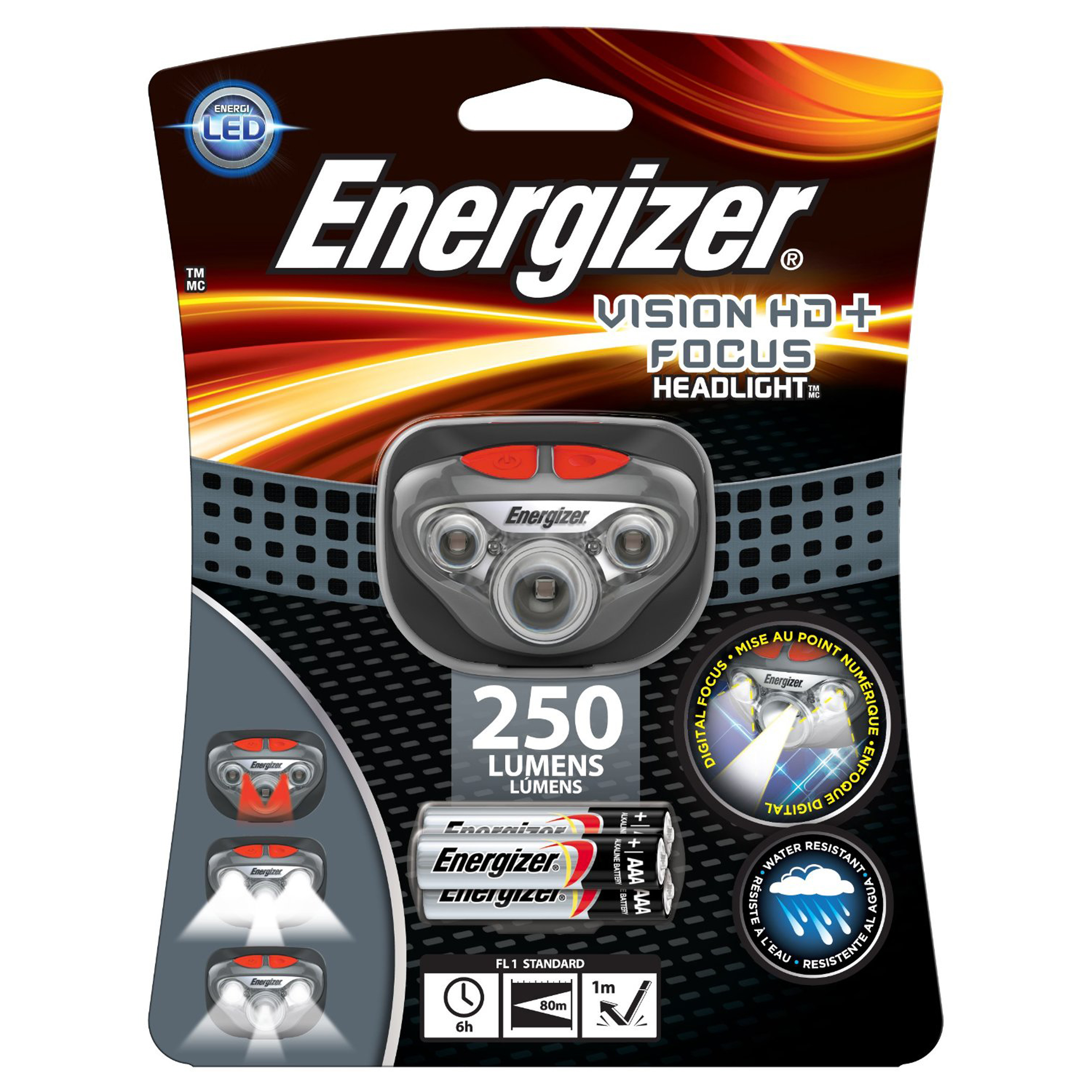 Energizer Vision Headlamp HD+ Focus LED, 250 Lumens