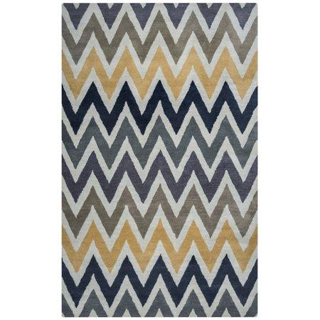 Chevron Wool Rug (Gatney Rugs Pumpkin Patch Area Rugs - VO8170 Contemporary Ivory Tufted Chevron Zig Zag Wool Rug)