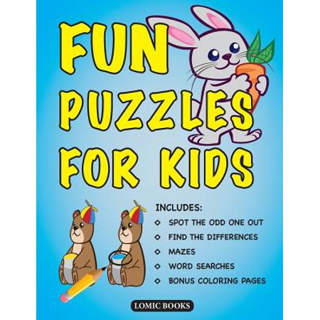 Fun Puzzles for Kids : Includes Spot the Odd One Out, Find the Differences, Mazes, Word Searches and Bonus Coloring - Halloween Find Differences