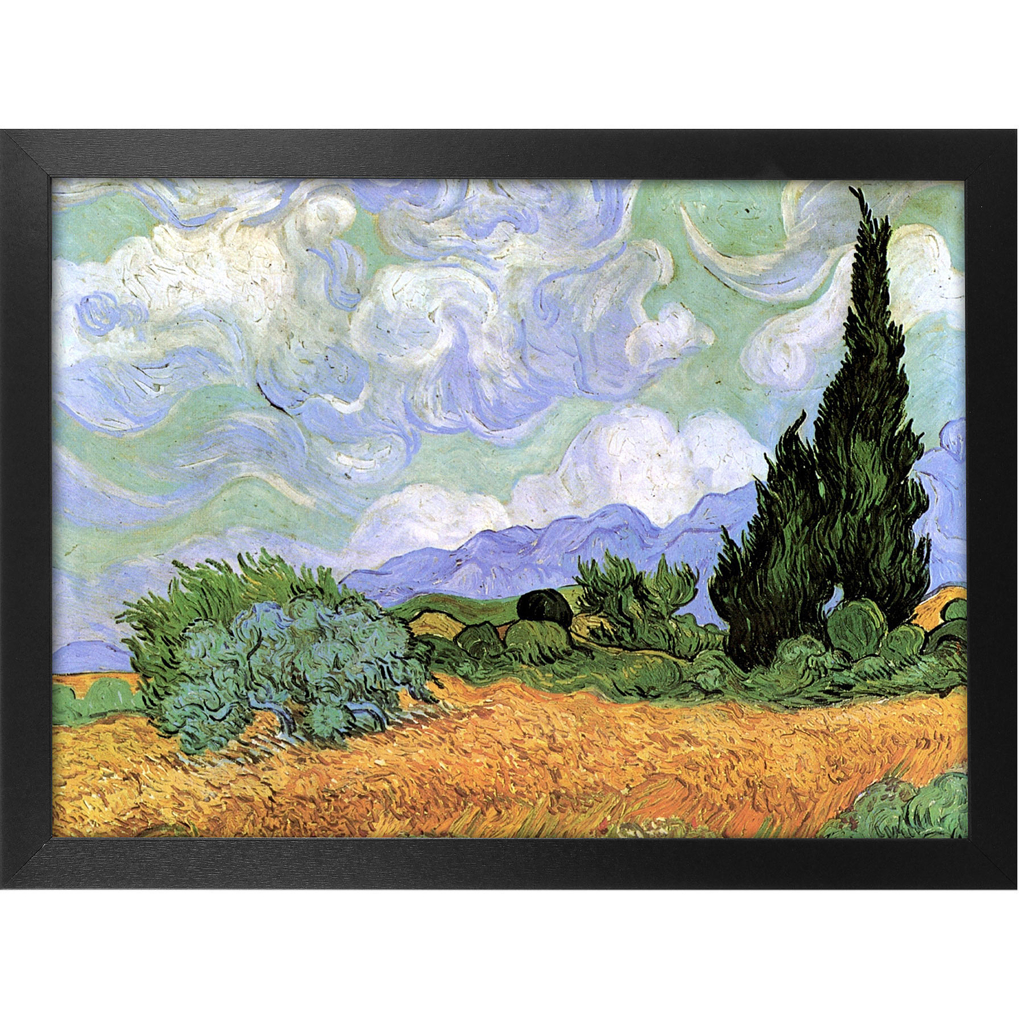 "Trademark Art ""Wheatfield with Cypresses 1889"" Framed Canvas Art, 18x24 by TRADEMARK GAMES INC"