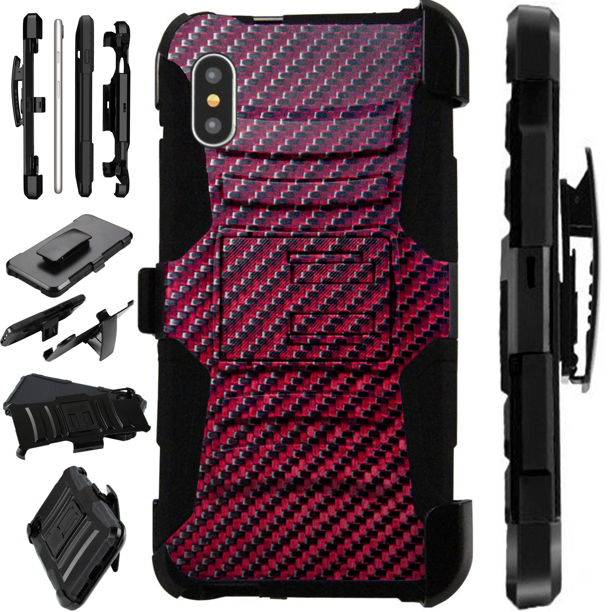 """Compatible With Apple iPhone XR 6.1"""" Case Armor Hybrid Silicone Cover Stand LuxGuard Holster (Brown Carbon Fiber Print)"""