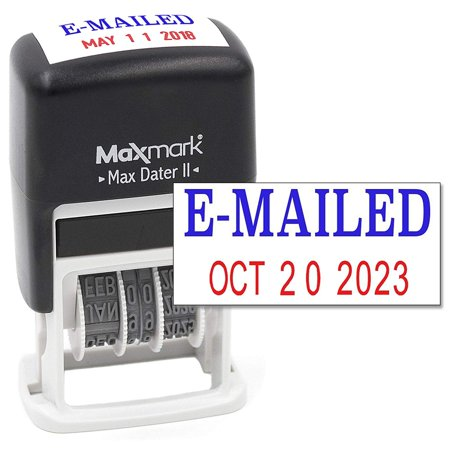 Official Mail Stamp (MaxMark Self-Inking Rubber Date Office Stamp with E-MAILED Phrase BLUE INK & Date RED INK (Max Dater II), 12-Year Band )
