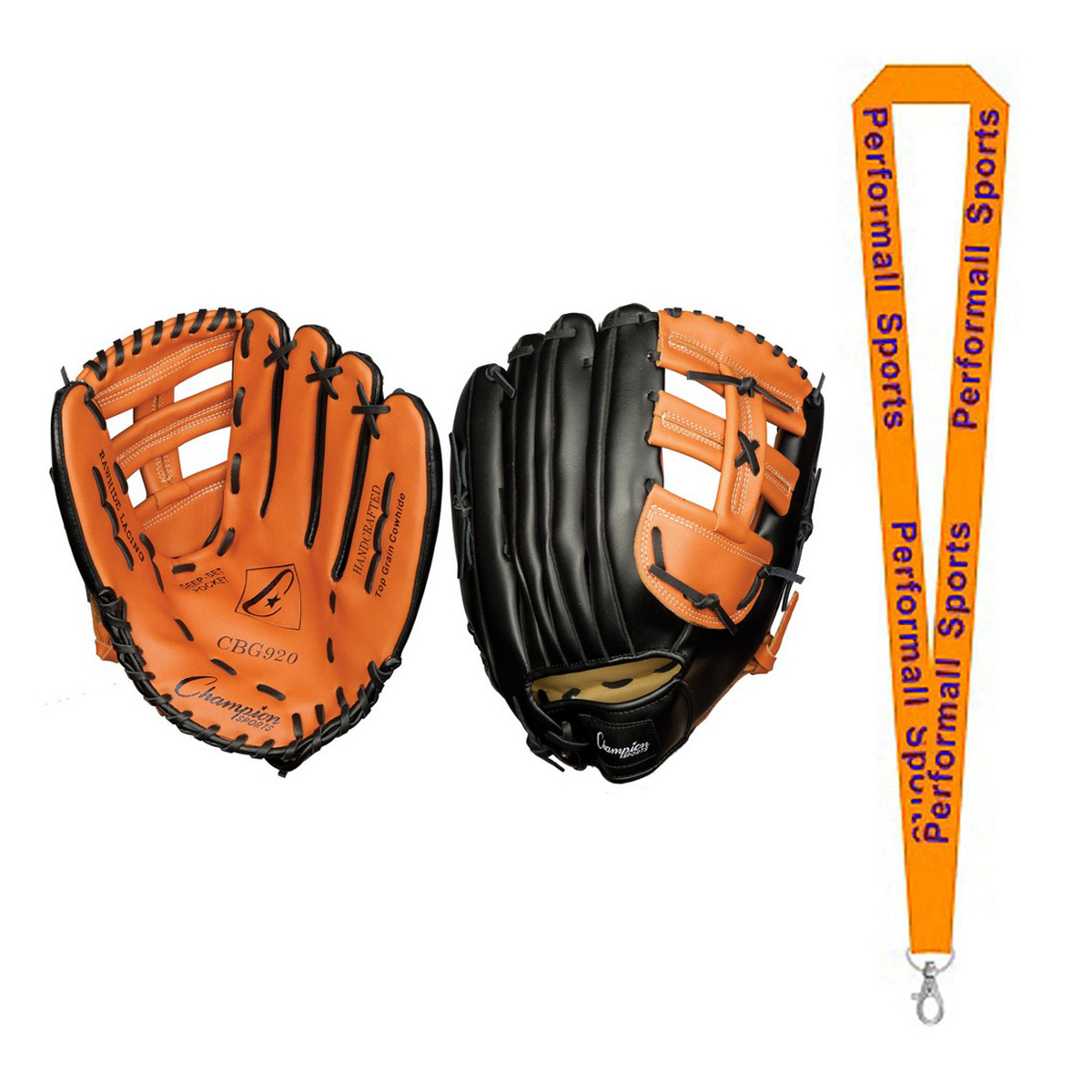 "Champion Sports Bundle: 13"" Fielder's Glove Black with 1 Performall Lanyard CBG920-1P"