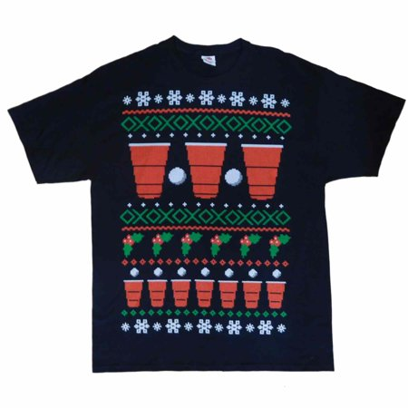 Fair Isle Tie (Holiday Party Mens Black Fair Isle Beer Pong Christmas)
