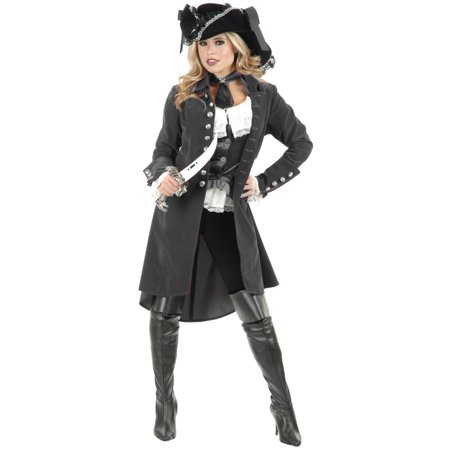 Womens Pirate Lady Vixen Jacket Gun Metal Grey - Vixen Pirate Halloween Costume