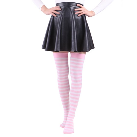 bb5efe2e0e22 Hde - Women's Plus Size Striped Stockings Thigh High Over the Knee ...