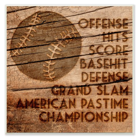 The Stupell Home Decor Collection Baseball Planked Wood Look Wall Plaque - Baseball Wall Decor