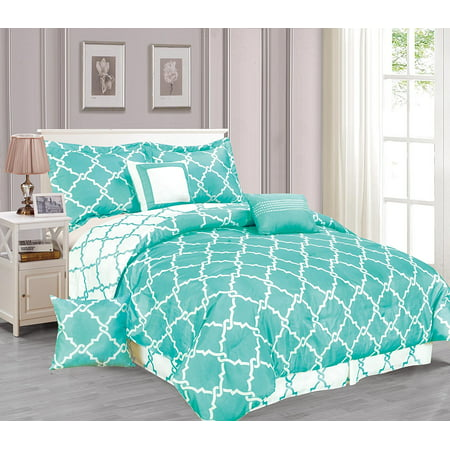 Galaxy 7-Piece Comforter Set Reversible Soft Oversized Bedding Turquoise Blue Queen
