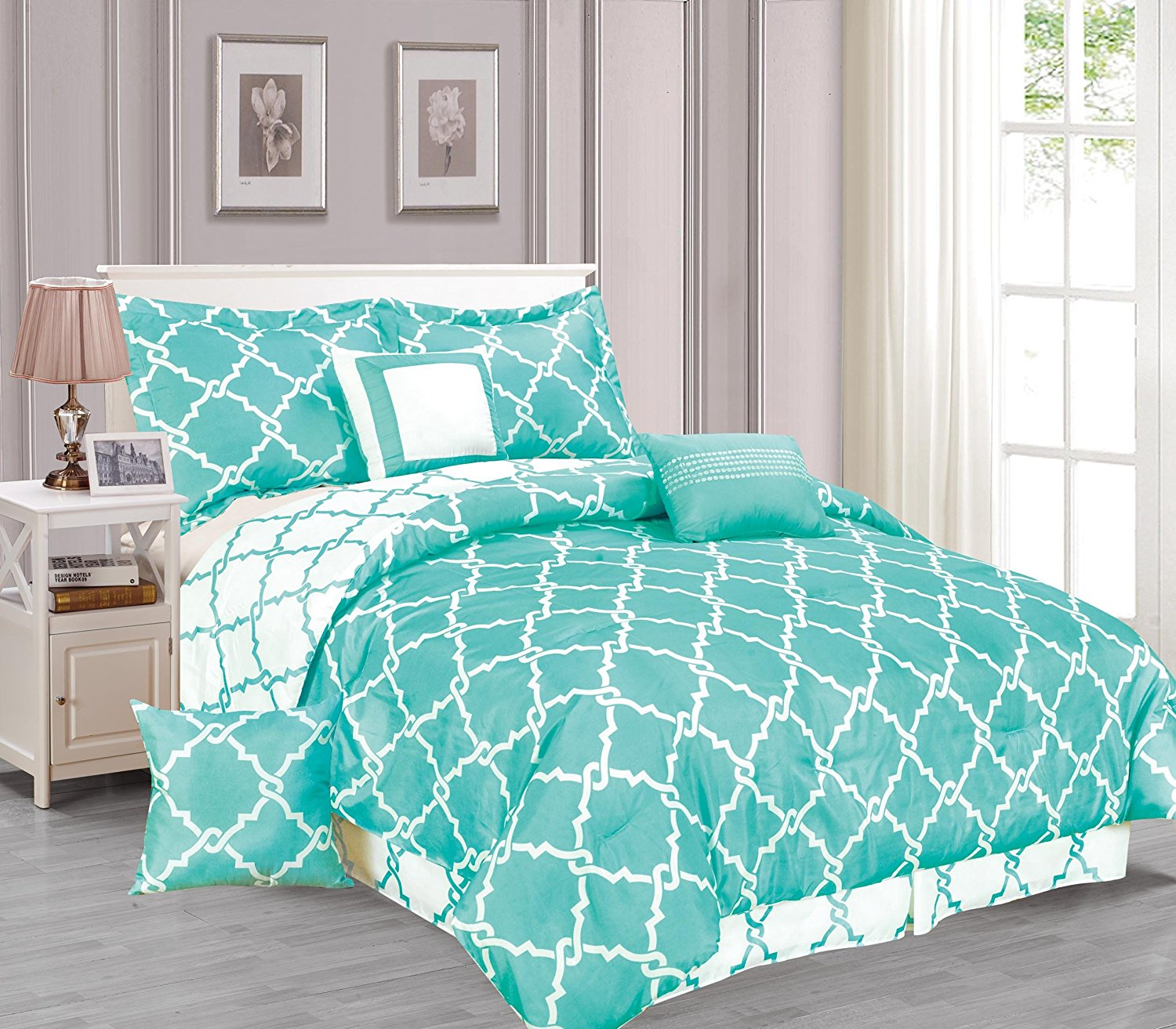 Galaxy 7 Piece Comforter Set Reversible Soft Oversized Bedding Turquoise  Blue King Size