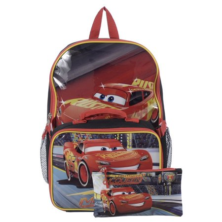 Cars 15 Inch Multicolored Boys School Backpack with Lunch Kit and Pencil Case [ Lightning McQueen ] (Lightning Mcqueen Sleeping Bag)