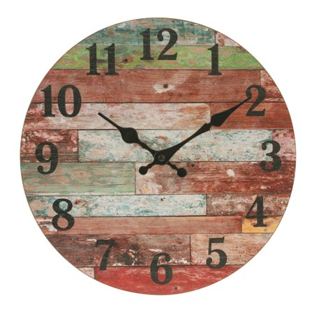 Orange 12 Inch Wall Clock - Stonebriar Rustic Farmhouse 12 Inch Round Wooden Wall Clock - Battery Operated