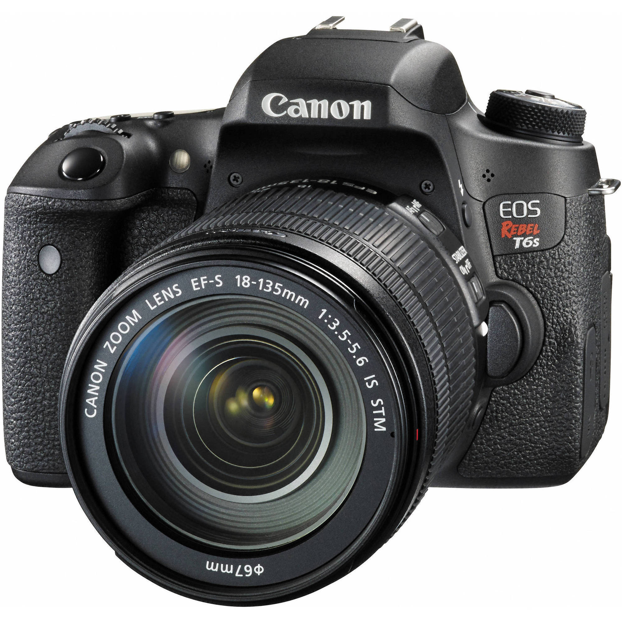 Canon Black EOS Rebel T6s Digital SLR Camera with 24.2 Megapixels and 18-135mm Lens Included