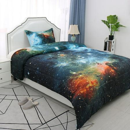 2-Piece Twin Size Bedding Comforter Set All-season Down Quilted Duvet Twin Blue Cotton Comforter Duvet Set