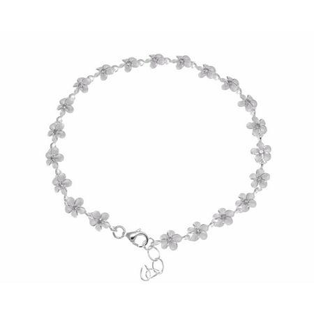 925 sterling silver Hawaiian plumeria flower bracelet cz 8mm 7.5