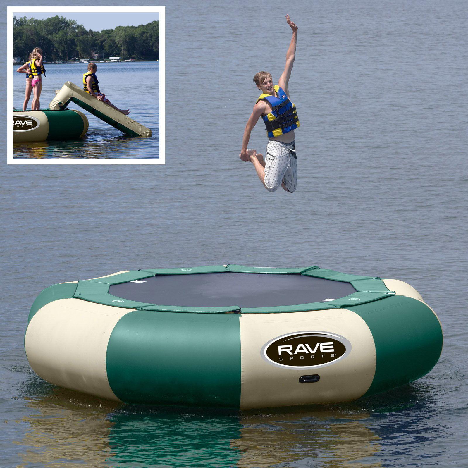 15 ft. RAVE Sports Northwoods Aqua Jump Eclipse Water Trampoline Package - Aqua Jump Trampoline + Slide