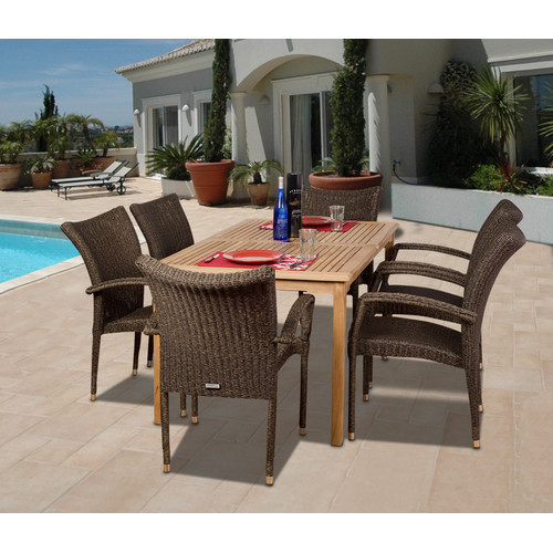 International Home Miami Amazionia Teak/Wicker Wales 7 Piece Dining Set