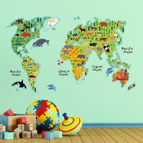 WallPops! Home Decor Line Kids World Map Wall Decal